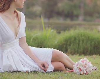 Dainty White Ruffle Octopus Convertible Wrap Dress, Wedding Dress, Bridal