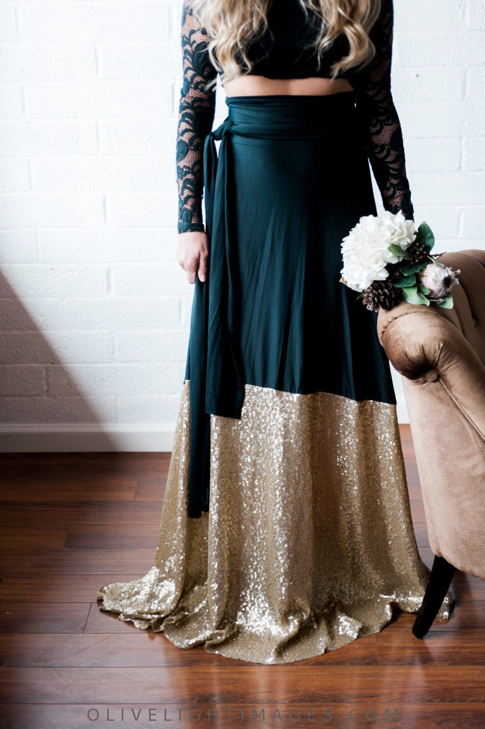 Glam Sequin Dipped Sash Skirt With Train Customize Gold Blush Petal Olive Champagne Silver Gatsby Cocktail Vintage 1920s Bridal