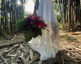 Hibiscus Tropical Floral- Bella Luna- Octopus Infinity Wrap Dress WITH Train ~ Bohemian Bride, Bridal,