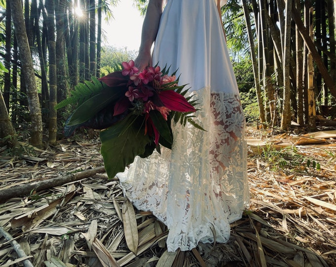 Featured listing image: Hibiscus Tropical Floral- Bella Luna- Octopus Infinity Wrap Dress WITH Train ~ Bohemian Bride, Bridal,