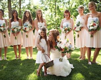 Short Infinity Dress with Sheer OverSkirt -Custom Choose your Fabrics- Avalon Peach Chiffon with Dove White Octopus