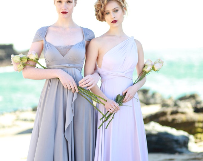 Tulip Cut Infinity Wrap Dress. Custom Choose Your Fabric. Shown in Dockside Grey Satin- Bohemian Bridal, Beach Wedding