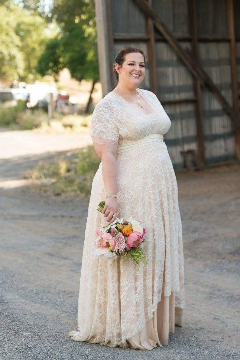 a81759791 Whimsical Layered Lace Chiffon and Satin High/ Low Double | Etsy