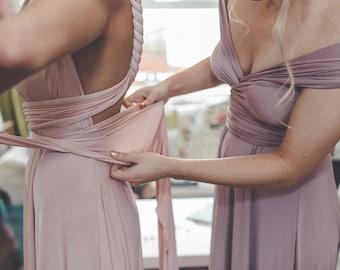 Mismatched Bridesmaids~ Long Maxi Octopus Convertible Wrap Gown- Mismatched Bridesmaids, Wedding, Maternity, Plus Size, Bespoke