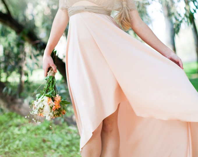 Long High/Low Hem Cut with Train and Lace Straps- Nautilus Shell Peach with Mocha Lace Straps- Bride, Prom, Weddings, Bridesmaids