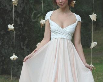 Coralie Beatrix Avalon Peach Chiffon with Heron Off White Octopus Infinity Convertible Wrap Dress~ Bridesmaids, Wedding, Maternity, e