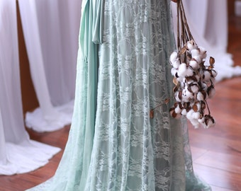 Song of Sagebrush with Seafoam Lace- Vintage Style Octopus Infinity Wrap Dress- Wedding Gown, Bridesmaids, Maternity, Etc.