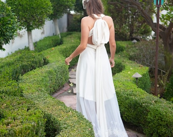 Boho Bride- Bella Luna Dress- Scalloped Embroidered Ivory Cotton Spandex Infinity Wrap Dress- no Train ~ Bohemian Bride, bridesmaids, etc.