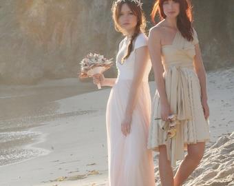 Custom Coralie Beatrix w/ Chiffon Overskirt- Infinity Convertible Wrap Gown-NO Train- Tulle, Wedding, Bridesmaids, Bohemian, Beach Bride