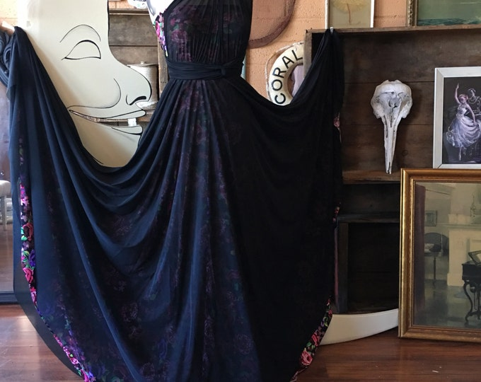 Black Floral Romance~ Full Circle Tulle Skirt and Straps Octopus Infinity Convertible Wrap Dress- No Train- Bridal, Bridesmaids, prom