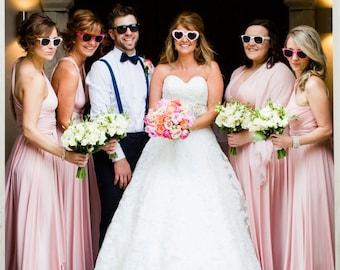 Rosewater Satin Long Octopus Convertible Wrap Gown- Bridesmaids, Wedding, Maternity