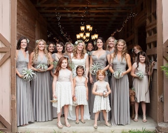 Oyster Shimmer Taupe- Octopus Convertible Infinity Wrap Dress. Bridesmaids, Wedding, Prom. Choose size, length, hem cut