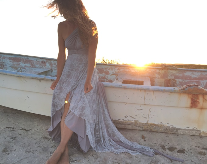 Shiplap Gray with Lace Tulip Cut Octopus Wrap Dress~ No Train ~Wedding Gown, Bridesmaids, Maternity, Etc.