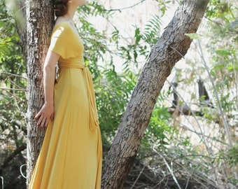 Moroccan Mustard Gold-Long Octopus Convertible Wrap Gown-Maxi Bridesmaid Dress~ Guilded, Vintage, Grecian