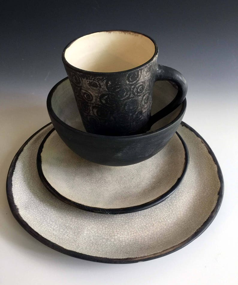 Black and White Dinnerware sets in matte Glaze by Leslie Freeman NEW.
