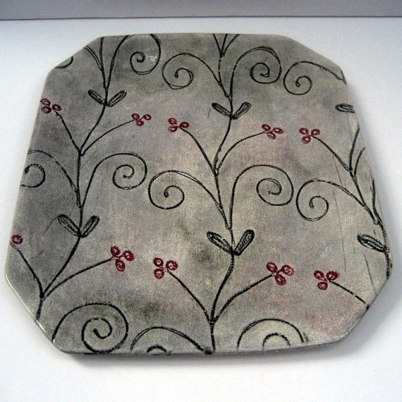 Floral Platter Tray Stoneware Platter Platter By Leslie Etsy