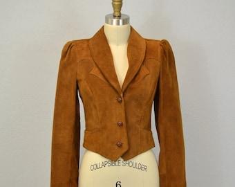 Vintage suede blazer / 1970s Western / Small