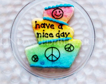 Topsy Turvy Have a Nice Day Cookies  1 Dozen (12)