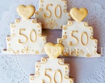 50th Wedding Anniversary Cake Cookie 1 Dozen (12)