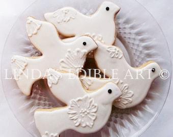 Embroidered Dove Cookies 1 dozen (12)