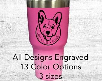 Peace, love and corgis | Personalized engraved travel mug | Travel Cup | powder coated, 30oz Tumbler personalized, corgi dog puppies