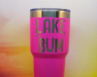Lake Bum Tumbler, custom travel mug engraved stemless wine glass with lid, coffee mug, Swig Stainless Steel Tumbler personalized