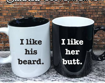 I like his guns, I like her buns, Mature Valentine Gift, His and Hers Set, Funny, Engraved, Personalized Coffee Cups