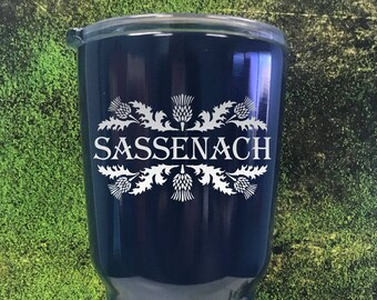 Sassenach custom travel mug, outlander gift, inspired, Powder coated Tumbler, Swig, wedding gift,  Jamie fraser, claire fraser
