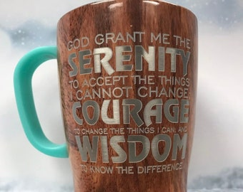 Serenity 18oz thermal coffee mug in woodgrain or white, DISHWASHER SAFE, with lid, recovery gift