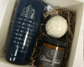 A Bonny Place, Outlander Inspired Gift Set, All natural soy candles, 20 oz Dinna Fash tumbler and Bath Bomb