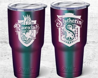 Harry Potter Inspired custom 30Oz travel mug, Hufflepuff, slytherin, Ravenclaw Powder coated Tumbler, Luna Lovegood, Wizard