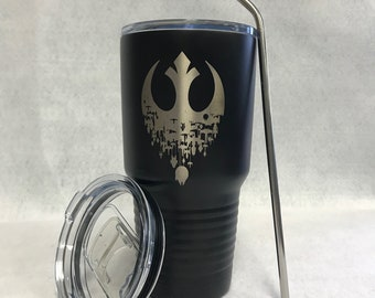 Star Wars Inspired, Rebel alliance Travel Mug with Lid, Engraved Powder Coated 30oz Tumbler Rambler,  Star Wars Imperial