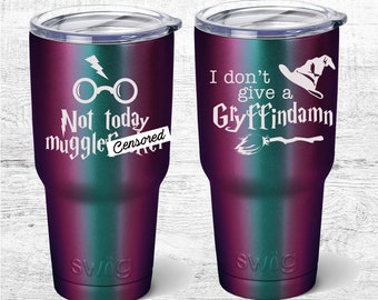 I don't give a ...Harry Potter inspired Travel mug, Hufflepuff, ravenclaw, Slytherin 30oz tumbler or 12oz Combo, not today muggle