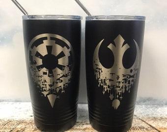 Rebel or Imperial alliance Powder Coated 20oz Tumbler, travel coffee mug