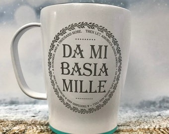 Da mi basia Mille thermal coffee mug with lid, Outlander Gift, Outlander Valentine's Day