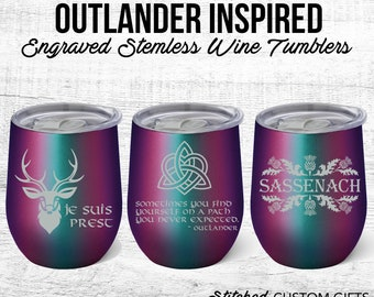 Outlander Inspired wine tumbler, Mermaid Shimmer, Engraved Powder coated Tumbler, claire fraser, outlander mug, duncan qoute