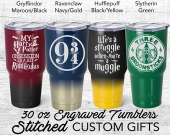 Harry Potter inspired Travel Tumbler, gryffindor, Hufflepuff, ravenclaw, Slytherin, Powder coated Swig, Obsession, Struggle Muggle, Always