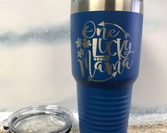 One Lucky Mama, Autism Mom Travel mug, Engraved Powder coated Tumbler, Be Kind, Autistic