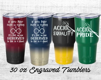 LGBT, Accio Pride, Equality, No one deserves to live in a closet,  Harry Potter inspired Travel Tumbler, gryffindor, Hufflepuff, ravenclaw