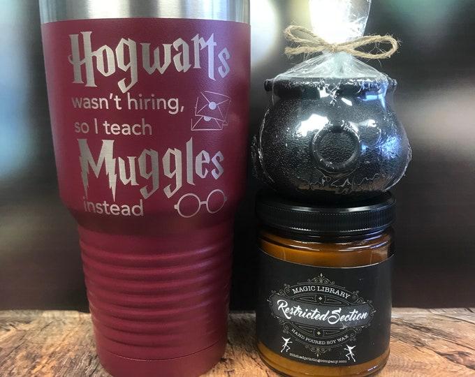Featured listing image: Harry Potter inspired Tumbler, gryffindor, Hufflepuff, Harry Potter Teacher Gift, I Teach Muggles, Hogwarts,  Powder coated