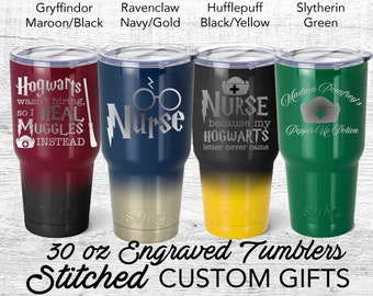 Nurse Harry Potter inspired Travel mug, Hufflepuff, ravenclaw, Slytherin 30oz tumbler Heal Muggles, Madam Pomfrey