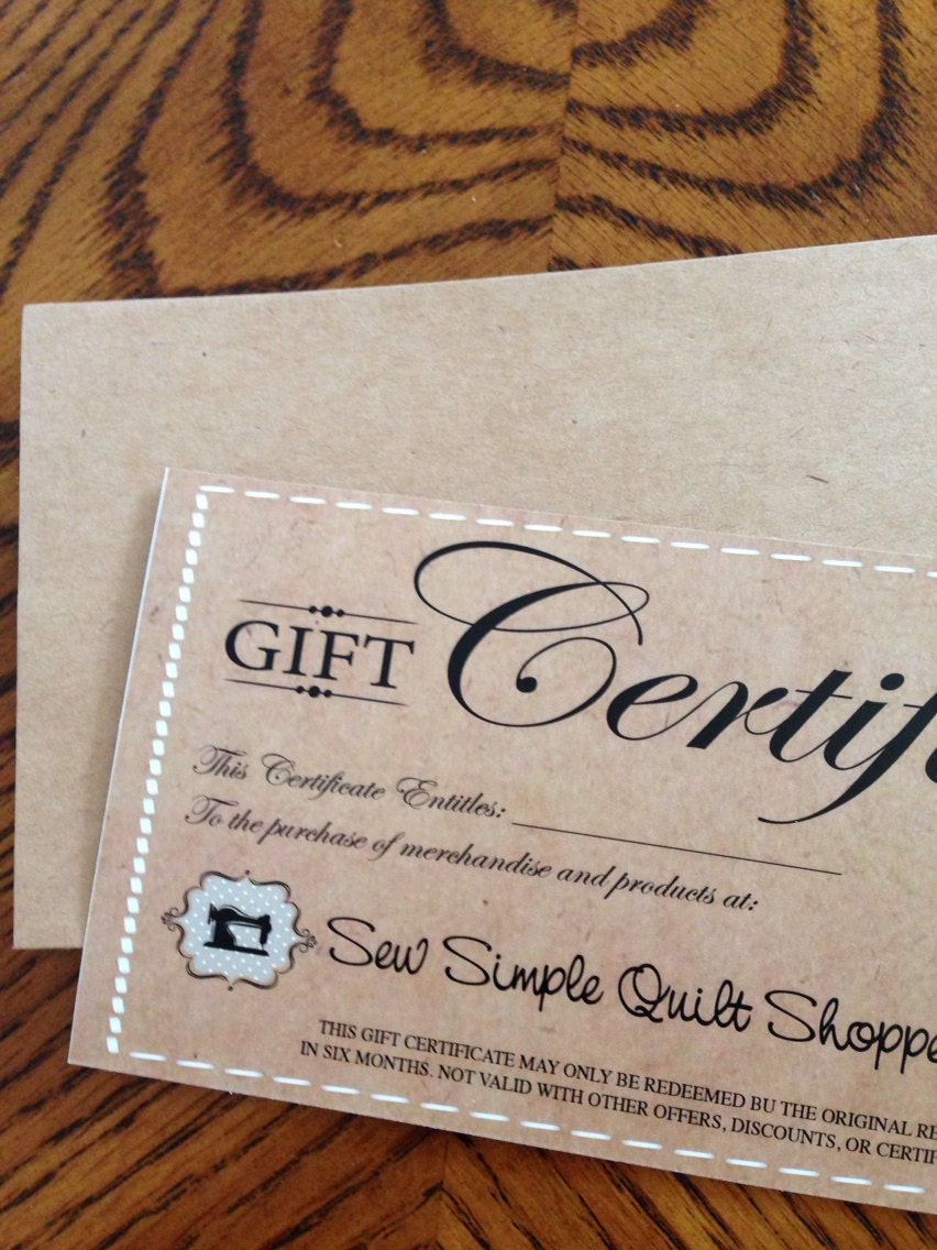 25 custom gift certificates for your business or boutique