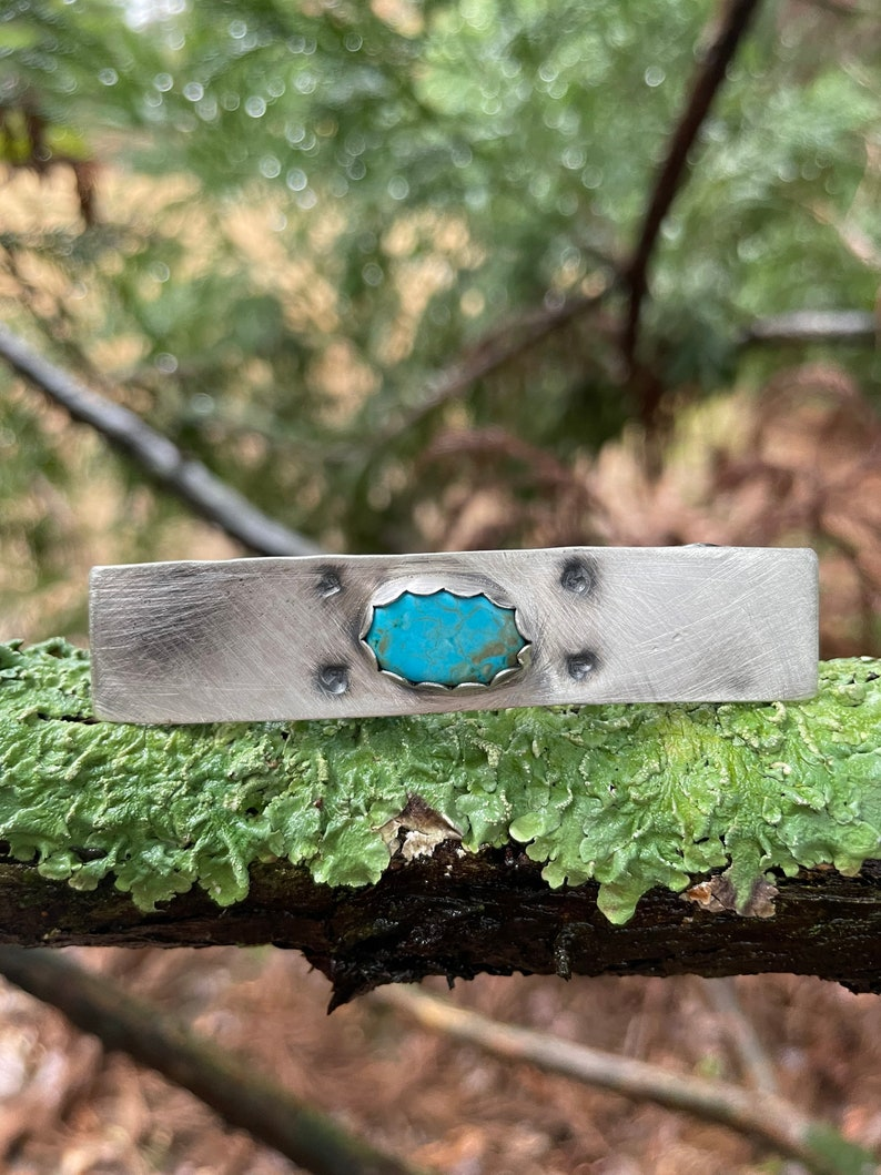 Turquoise Barrette  Valentine Barrette  Valentine Accessory  Heart Barrette  Turquoise Accessory  Sterling Barrette  Boho Barrette