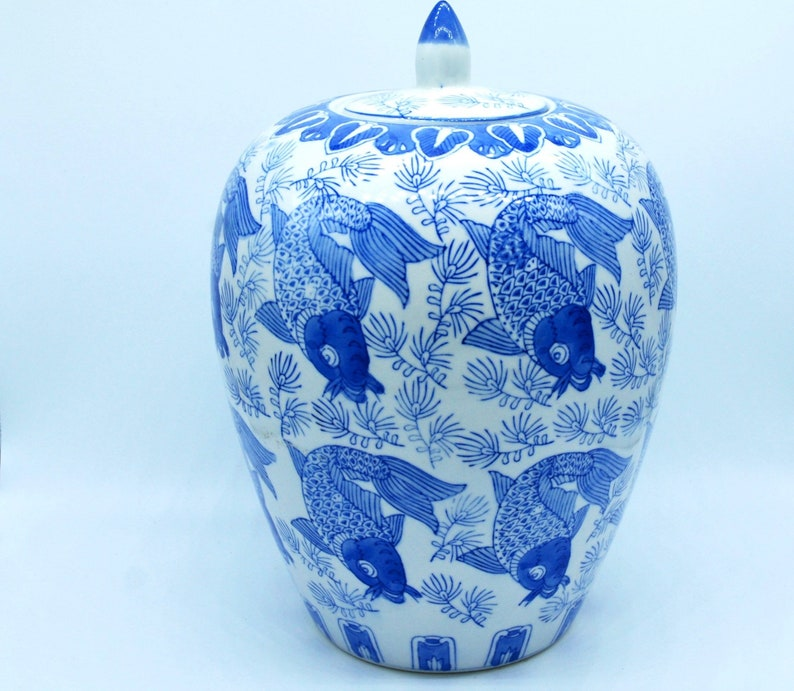Blue and White Asian Jar with Lid