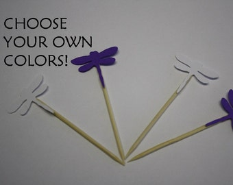 24 mini food picks - Dragonfly - Choose your Colors!