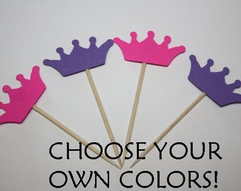 24 mini food picks - Crowns - Choose your Colors!
