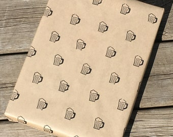 Hand Stamped Beer Wrapping Paper - 1 yard - Unique gift giving