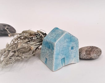 Ceramic Bothy Cottage in Turquoise Crackle, Miniature Pottery Shelf Ornament, Tiny Pottery Collectable Fairy Tale Cottage, Stocking Filler