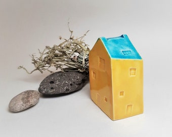 Modern Ceramic House, Ceramic Shelf Ornament in Sunshine Yellow and Turquoise Blue, Clay Cottage Gift, House warming and Architecture