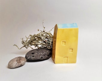 Modern Ceramic House, Ceramic Shelf Ornament in Sunshine Yellow and Pale Blue, Clay Cottage Gift, House warming and Architecture